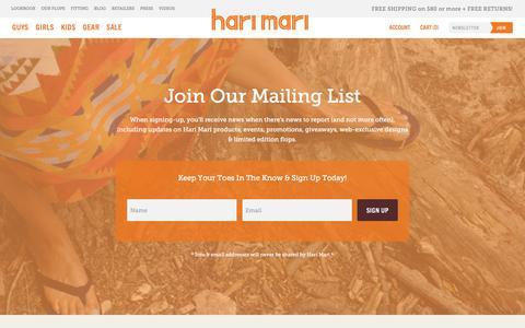 Screenshot of Signup Page harimari.com - Hari Mari — Newsletter - captured July 11, 2016