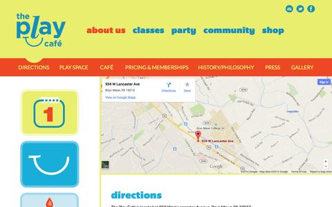 Screenshot of Maps & Directions Page theplaycafe.com - The Play Café - Main Line Indoor Play Space for Kids ages 0-5 –  Directions - captured Oct. 9, 2014