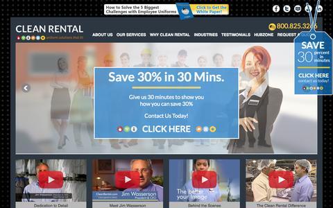 Screenshot of Home Page cleanrental.com - Uniform Rental | Uniform Design | Uniform Cleaning | Clean Rental - captured Jan. 26, 2015