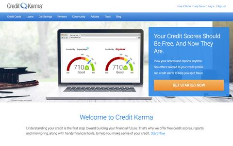 Screenshot of Home Page creditkarma.com - Free Credit Report & Free Credit Score. No Credit Card Required. - captured Oct. 1, 2015