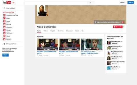 Screenshot of YouTube Page youtube.com - Nicole Dahlkemper  - YouTube - captured Nov. 3, 2014
