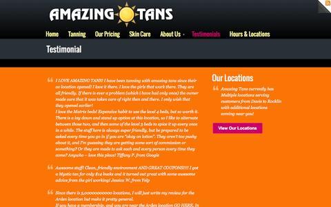 Screenshot of Testimonials Page amazingtans.com - Testimonial - captured Oct. 4, 2014