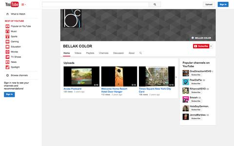 Screenshot of YouTube Page youtube.com - BELLAK COLOR  - YouTube - captured Oct. 23, 2014