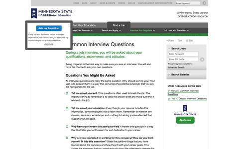 Screenshot of FAQ Page mnscu.edu - Common Interview Questions   CAREERwise Education - captured Nov. 26, 2016
