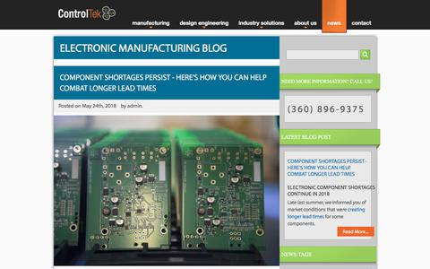 Screenshot of Press Page controltek.com - Electronics Manufacturing and Design Engineering Blog | ControlTek - captured July 21, 2018