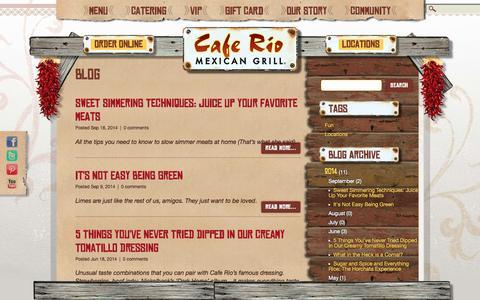 Screenshot of Blog caferio.com - Blog | Cafe Rio Mexican Grill - captured Sept. 24, 2014