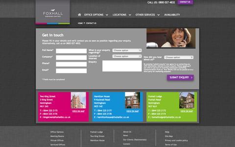 Screenshot of Contact Page foxhallbc.co.uk - Contact Us - captured Oct. 6, 2014