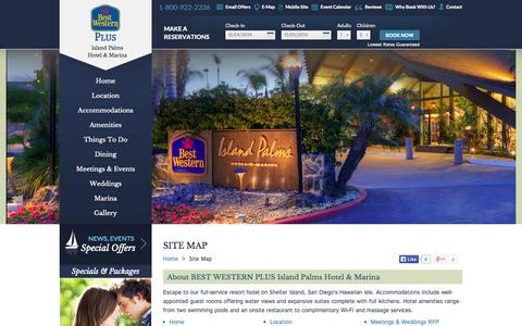 Screenshot of Site Map Page islandpalms.com - BEST WESTERN PLUS Island Palms - captured Oct. 4, 2014