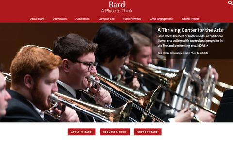 Screenshot of Home Page bard.edu - Bard College - captured Jan. 20, 2019