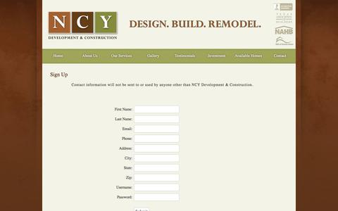 Screenshot of Signup Page ncydevelopment.com - Dallas Development & Construction - NCY - (214) 534-4319 - captured Oct. 7, 2014