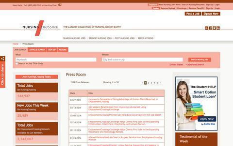 Screenshot of Press Page nursingcrossing.com - NursingCrossing.com News, Press Room, Press Releases | NursingCrossing.com - captured Sept. 21, 2018