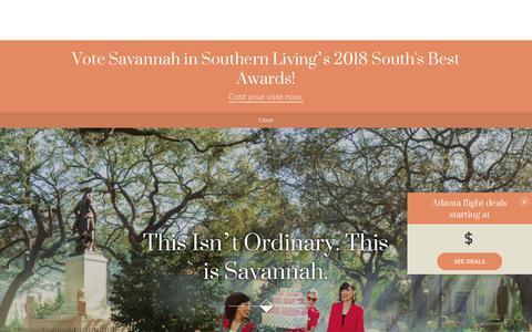 Screenshot of Home Page visitsavannah.com - Visit Savannah | The Official Guide to Savannah, GA - captured Sept. 20, 2018