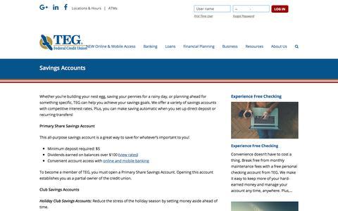 Screenshot of tegfcu.com - Savings Accounts – TEG Federal Credit Union - captured Dec. 2, 2017