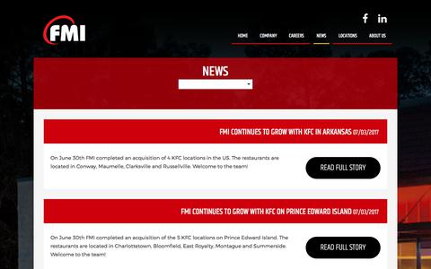 Screenshot of Press Page fmigroup.ca - Taco Bell, KFC and Pizza Hut Jobs | Franchise Management Inc. - captured Oct. 13, 2017