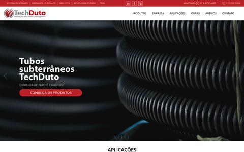 Screenshot of Home Page techduto.com.br - TechDuto • Tubos Corrugados de PEAD - captured Oct. 18, 2018