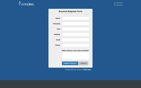 Screenshot of Signup Page arkowl.com - ArkOwl - Account Request Form - captured July 26, 2016