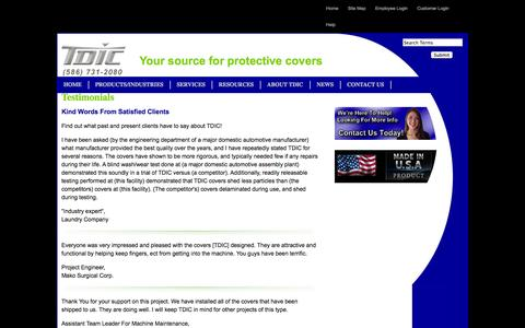 Screenshot of Testimonials Page tdic.com - TDIC Client Testimonials - captured Oct. 6, 2014