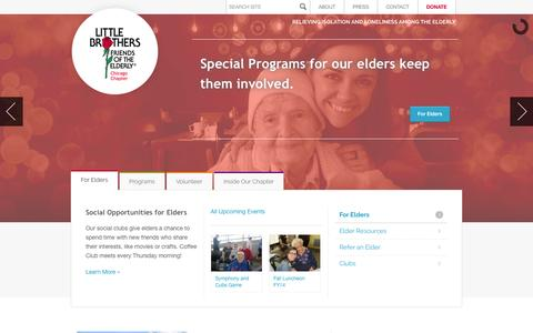 Screenshot of Home Page littlebrotherschicago.org - Little Brothers - Friends of the Elderly - captured Oct. 2, 2014
