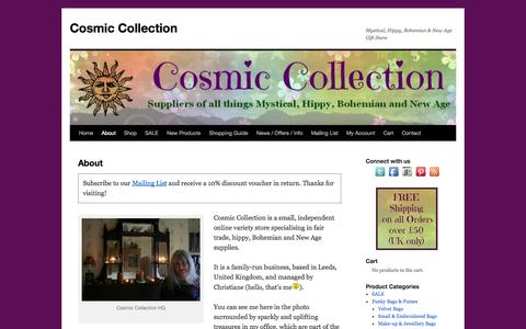 Screenshot of About Page cosmicstore.co.uk - About - Cosmic Collection - captured Oct. 2, 2014