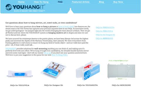 Screenshot of FAQ Page youhangit.com - Hanging and Leveling Art, How to Hang Pictures, Mirrors, Towel Racks, Surge Protectors, Speakers — YOUHANGIT - captured Dec. 18, 2016