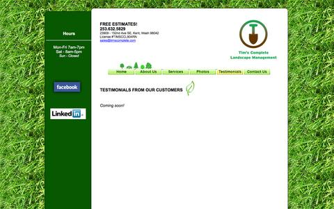 Screenshot of Testimonials Page timscomplete.com - Tim's Complete Landscape Management - Serving Kent, Covington, Renton, Maple Valley, Auburn and Burien - captured Feb. 16, 2016