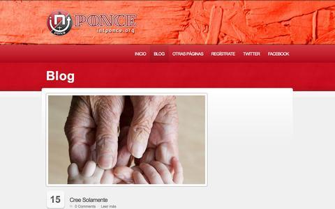 Screenshot of Blog intponce.org - Iglesia Nuevo Testamento de Ponce  |  Iglesia Nuevo Testamento de Ponce | Una iglesia con propósito para toda la familia. Pastores Susana y Carlos Camacho. - captured Oct. 4, 2014