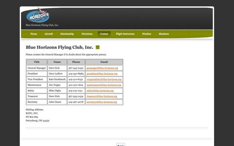 Screenshot of Contact Page blue-horizons.org - Blue Horizons Flying Club, Inc. - captured Oct. 5, 2014