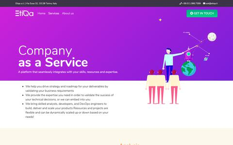 Screenshot of Services Page etiqa.it - Etiqa | Services - captured Sept. 29, 2018