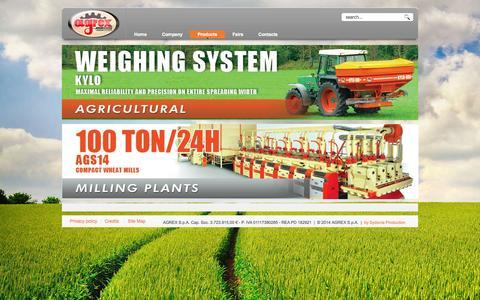Screenshot of Products Page agrex.it - Agrex - Impianti molitori e macchine agricole - captured Oct. 4, 2014