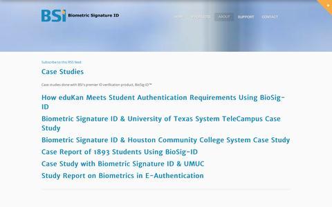Screenshot of Case Studies Page biosig-id.com - Case Studies - captured Sept. 12, 2014