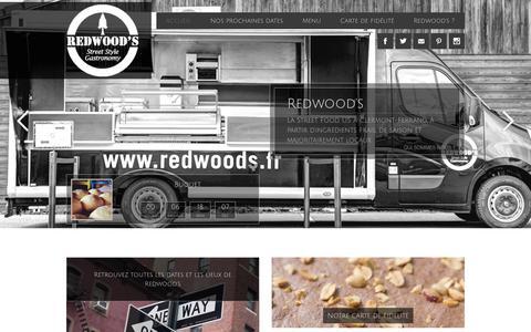 Screenshot of Home Page redwoods.fr - Burger & Bägel, Food Truck, Clermont-Ferrand - Redwood's - captured Oct. 1, 2014