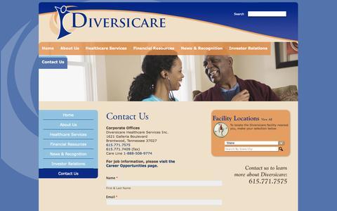 Screenshot of Contact Page dvcr.com - Contact Us - Diversicare | Diversicare - captured Oct. 5, 2014