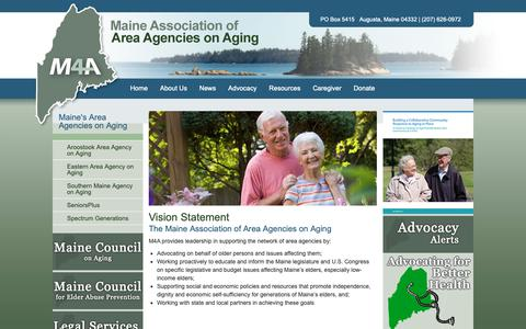 Screenshot of About Page maine4a.org - M4A - Maine Association of Area Agencies on Aging - captured Oct. 2, 2018