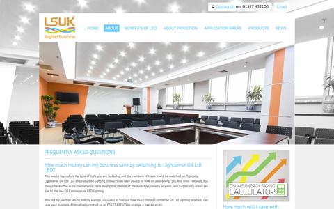 Screenshot of FAQ Page lsuk.com - LSUK FAQs | Manufacturer and supplier of high quality commercial LED and induction lighting. - captured Oct. 2, 2014