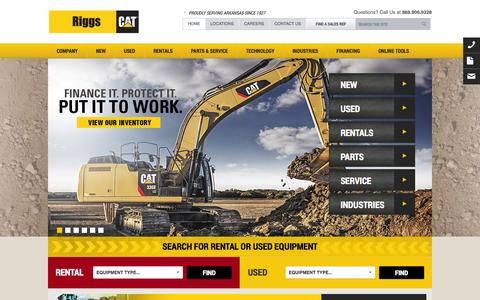Screenshot of Home Page riggscat.com - New & Used Cat Heavy Construction Machinery Equipment for Sale & Rent | Riggs CAT - captured Oct. 7, 2014