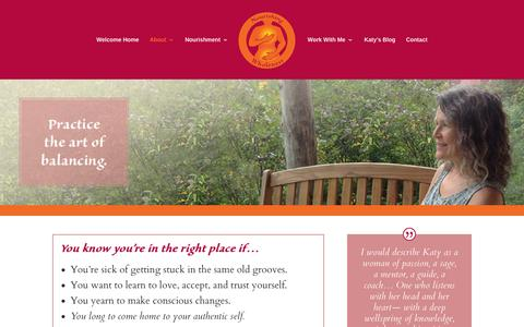 Screenshot of About Page katytaylor.com - About - Katy's Nourishing Wholeness - captured Feb. 23, 2016
