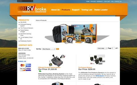 Screenshot of Products Page rvibrake.com - RV Auxiliary Braking Breakaway System & Wireless Monitor | RVi Brake - captured Sept. 26, 2014