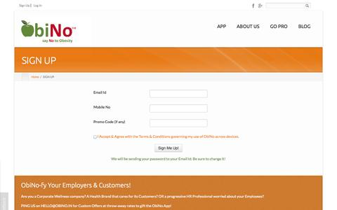 Screenshot of Signup Page obino.in - ObiNo  Sign Up for Free | ObiNo - captured Oct. 9, 2014