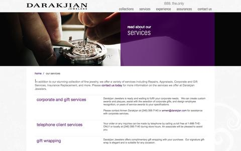 Screenshot of Services Page darakjian.com - Information and Details About Our Services | Darakjian Jewelers - captured Oct. 5, 2014