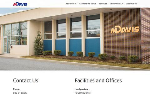 Screenshot of Contact Page mdavisinc.com - Contact Us - M Davis Inc. - captured Feb. 2, 2016
