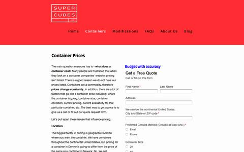 Screenshot of Pricing Page supercubes.com - Pricing — Shipping Containers at a Fair Price | Super Cubes LLC, 1-877-374-5452 - captured Feb. 17, 2016
