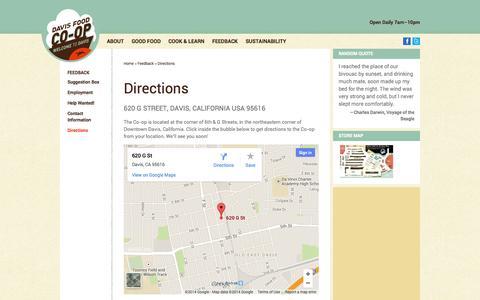 Screenshot of Maps & Directions Page davisfood.coop - Directions - Davis Food Co-op - captured Oct. 5, 2014