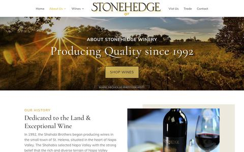 Screenshot of About Page stonehedgewinery.com - About Us|Stonehedge Winery - captured Oct. 19, 2019