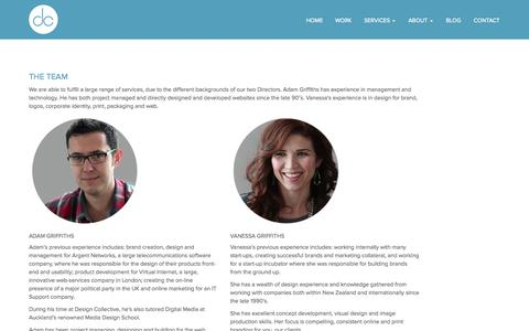 Screenshot of Team Page designcollective.co.nz - The Team: website, graphic, print, brand, logo experience | Design Collective - captured Oct. 5, 2014