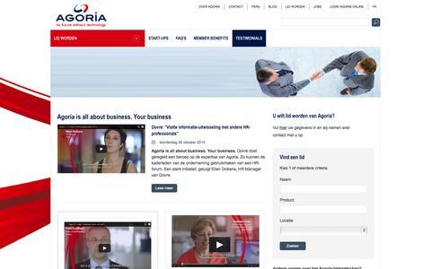 Screenshot of Testimonials Page agoria.be - Agoria - captured Nov. 4, 2014