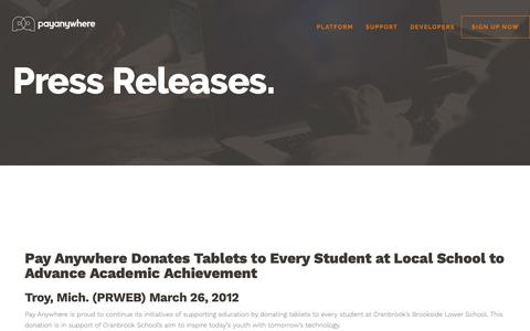 Screenshot of Press Page payanywhere.com - Pay Anywhere Donates Tablets to Every Student at Local School to Advance Academic Achievement | PayAnywhere - captured Sept. 28, 2018