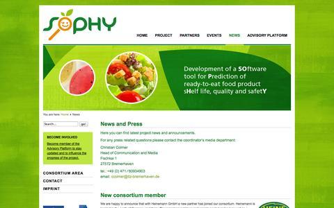 Screenshot of Press Page sophy-project.eu - SOPHY - News - captured Sept. 30, 2014