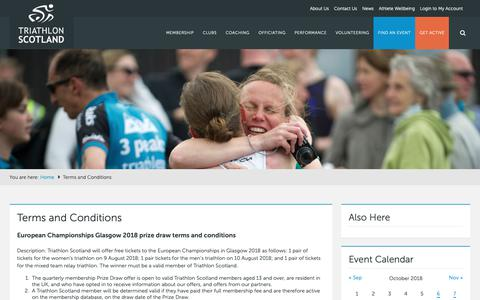 Screenshot of Terms Page triathlonscotland.org - Terms and Conditions - Triathlon Scotland - captured Oct. 20, 2018