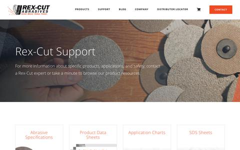 Screenshot of Support Page rexcut.com - Customer Support | Rex-Cut Abrasives - captured May 5, 2019