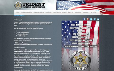 Screenshot of About Page tridentpi.com - About | Private Investigation | Protective Services | Event SecurityTrident Protection & Investigations - captured Nov. 5, 2014
